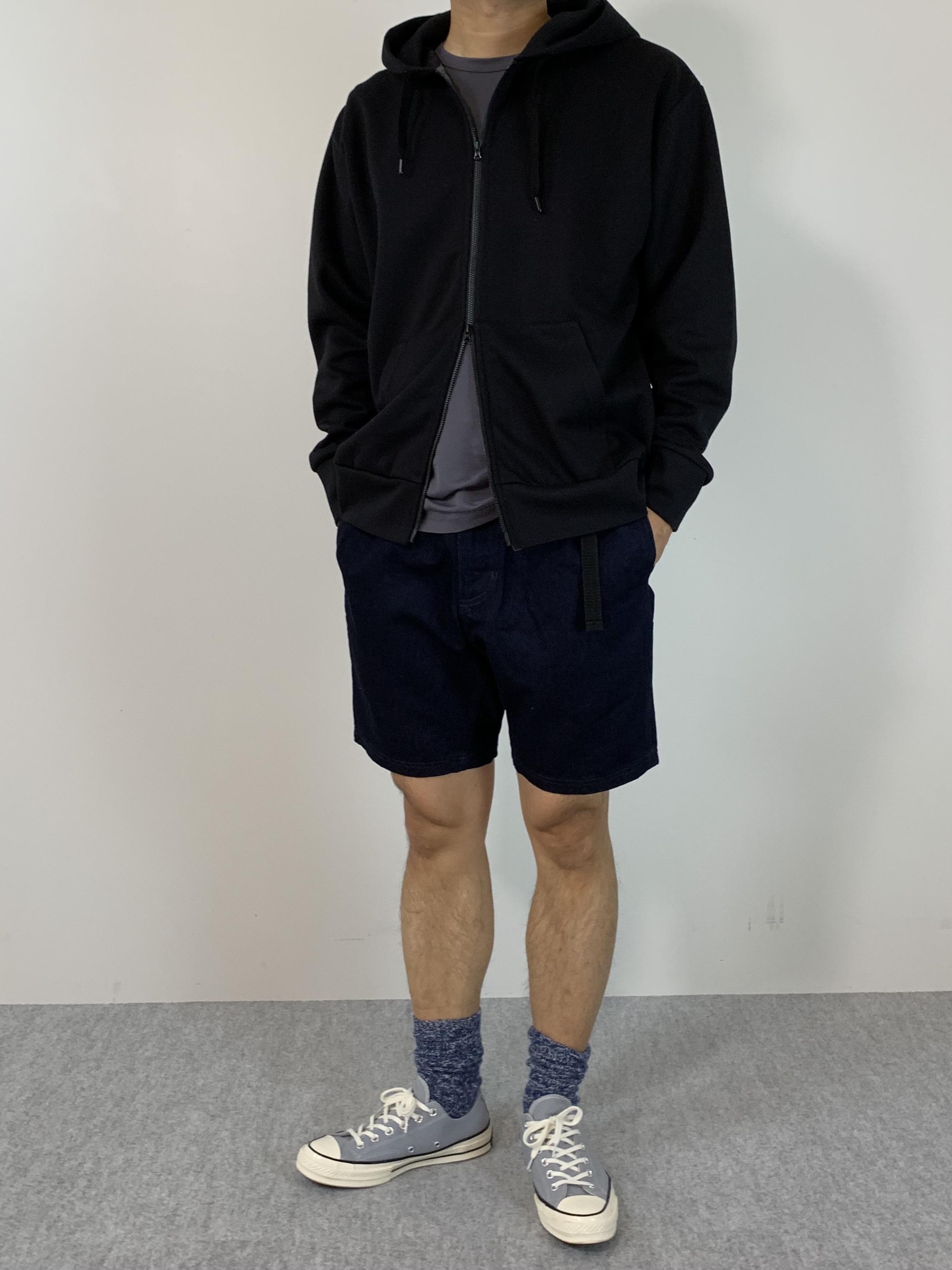 Genderless HYBRID SWEAT ZIP HOODYの着用画像1